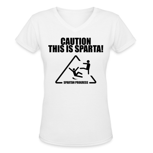 Caution Women V-neck - Women's V-Neck T-Shirt
