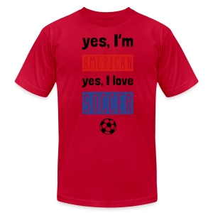 Yes I'm American, Yes I Love Soccer T-Shirt - Men's T-Shirt by American Apparel