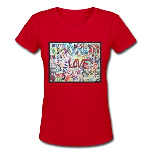 LOVE - V-Neck - Women - Women's V-Neck T-Shirt