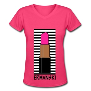 Hot Pink Lipstick - V-Neck - Women - Women's V-Neck T-Shirt