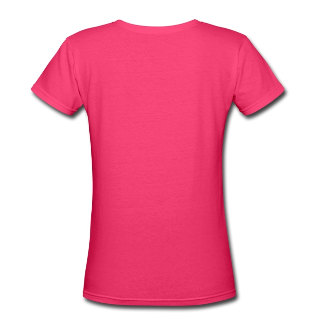 Hot Pink Lipstick - V-Neck - Women