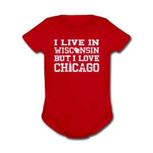 Live Wisconsin Love Chicago - Short Sleeve Baby Bodysuit