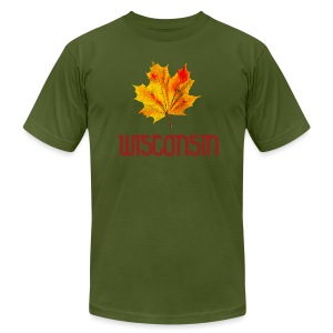 Autumn Wisconsin Leaf - Men's T-Shirt by American Apparel