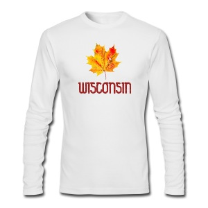 Autumn Wisconsin Leaf - Men's Long Sleeve T-Shirt by Next Level