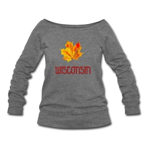Autumn Wisconsin Leaf - Women's Wideneck Sweatshirt