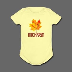 Autumn Michigan Leaf - Short Sleeve Baby Bodysuit