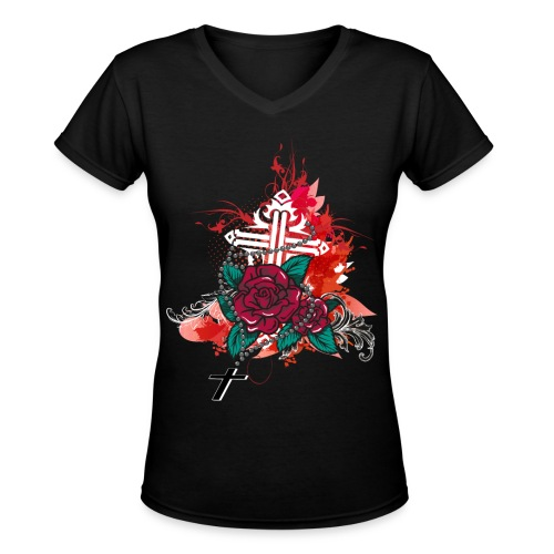 rose and rosary black - Women's V-Neck T-Shirt