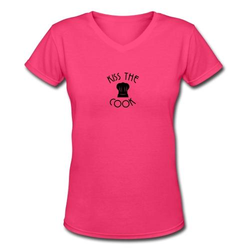 Kiss The Cook T-Shirt - black lettering - Women's V-Neck T-Shirt