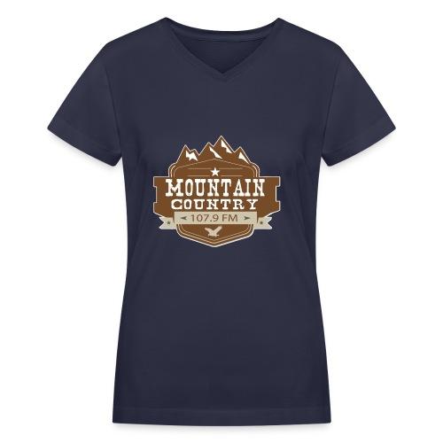 Mountain Country 107.9 Ladies V-Neck T-Shirt - Women's V-Neck T-Shirt