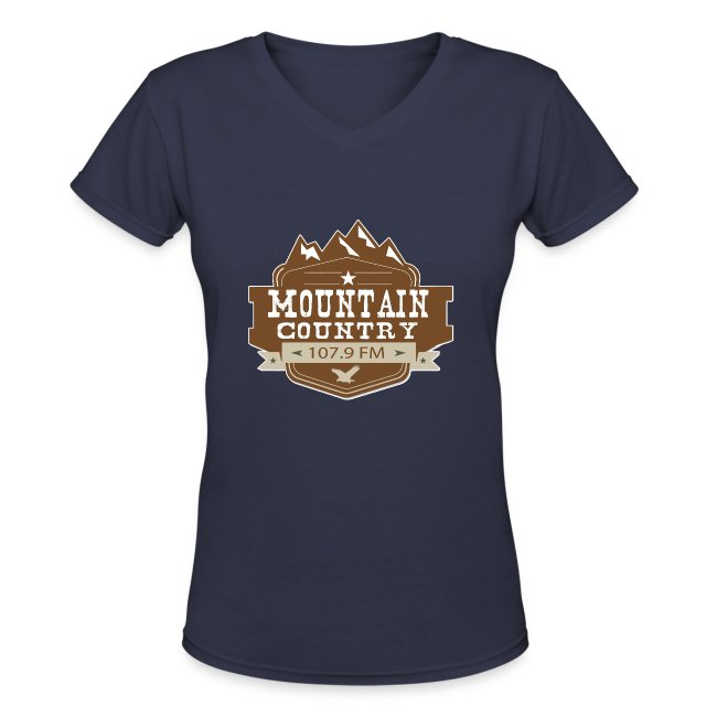 Mountain Country 107.9 Ladies V-Neck T-Shirt