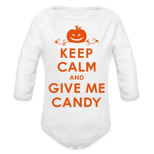 trick or treat shirt - Organic Long Sleeve Baby Bodysuit