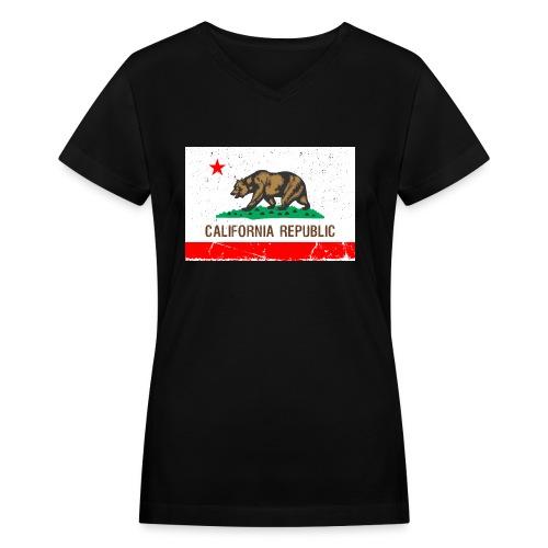 California Vintage Flag R&B - Women's V-Neck T-Shirt