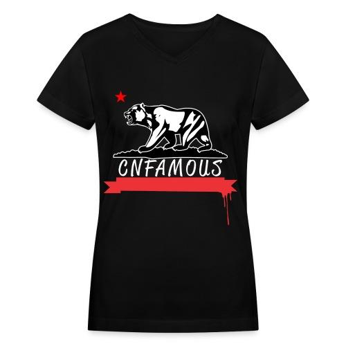 California Wild Bear - Women's V-Neck T-Shirt