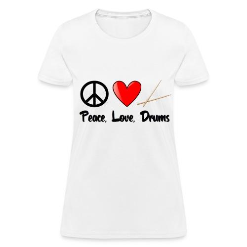 Peace, Love, Drums - Women's T-Shirt