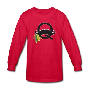 Q-Stache - Kids' Long Sleeve T-Shirt