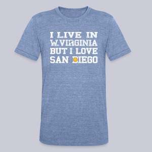Live West Virginia Love San Diego - Unisex Tri-Blend T-Shirt by American Apparel