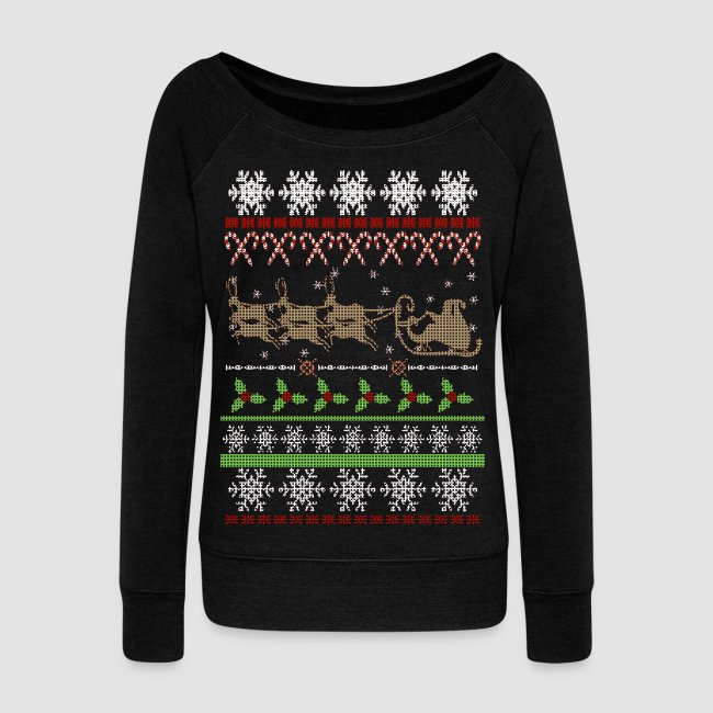 ugly christmas sweater inspired off shoulder womens holiday shirt