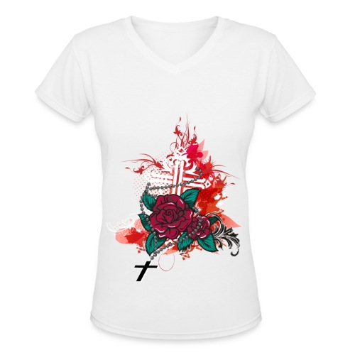 rose and rosary white - Women's V-Neck T-Shirt