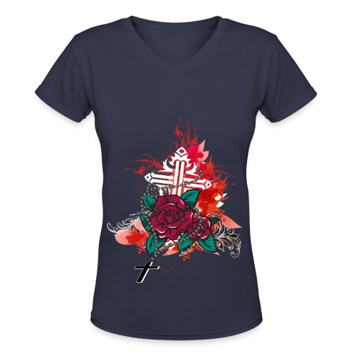 rose and rosary blue - Women's V-Neck T-Shirt