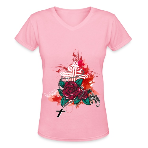 rose and rosary pink - Women's V-Neck T-Shirt