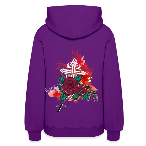 rose and rosary purple sweater - Women's Hoodie