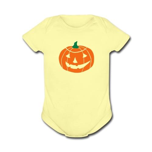 Cheerful Halloween Pumpkin - Organic Short Sleeve Baby Bodysuit