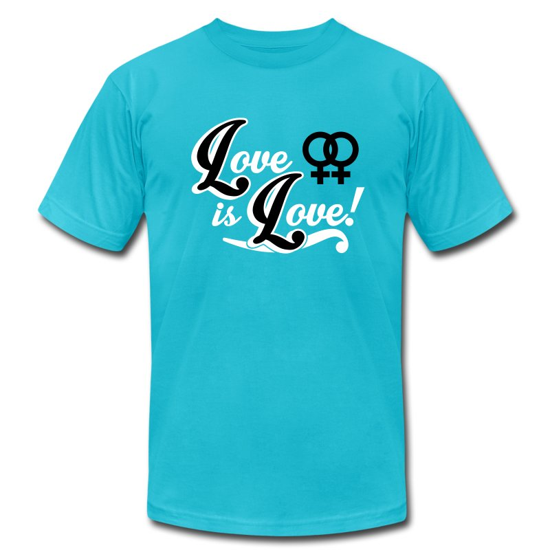 Love is Love - Lesbian T-Shirts - Men's T-Shirt by American Apparel