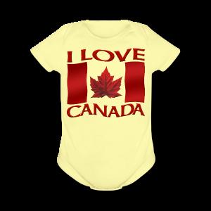 I Love Canada Toddler Shirt Canada Flag Baby One-Piece Souvenir - Short Sleeve Baby Bodysuit