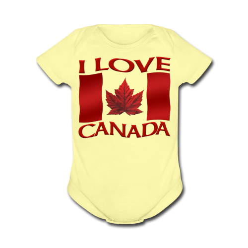 I Love Canada Toddler Shirt Canada Flag Baby One-Piece Souvenir - Organic Short Sleeve Baby Bodysuit