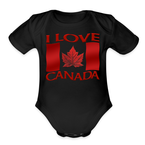 I Love Canada Toddler Shirt Canada Flag Baby One-Piece Souvenir - Organic Short Sleeve Baby Bodysuit