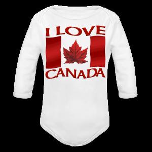 I Love Canada Toddler Shirt Canada Flag Baby One-Piece Souvenir - Long Sleeve Baby Bodysuit