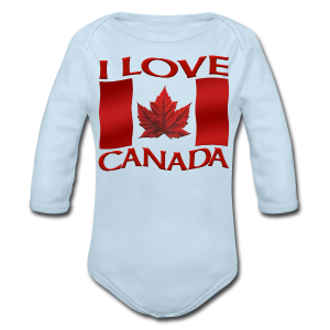 I Love Canada Toddler Shirt Canada Flag Baby One-Piece Souvenir - Long Sleeve Baby Bodysuit