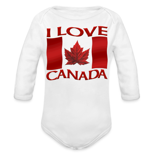 I Love Canada Toddler Shirt Canada Flag Baby One-Piece Souvenir - Organic Long Sleeve Baby Bodysuit