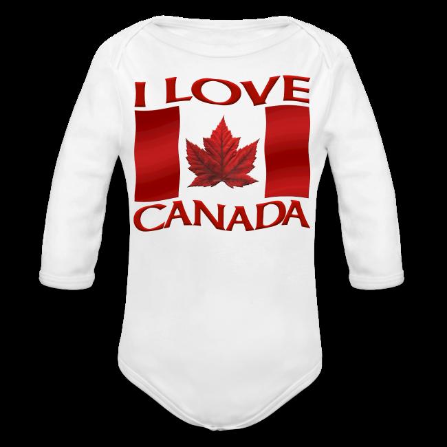 I Love Canada Toddler Shirt Canada Flag Baby One-Piece Souvenir