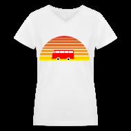 Women's T-Shirts ~ Women's V-Neck T-Shirt ~ Surfing sunset