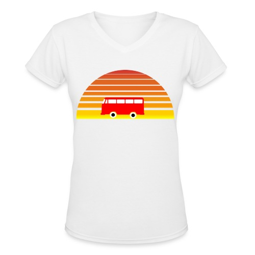 Surfing sunset - Women's V-Neck T-Shirt