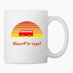 Surfing Sunset Bottles & Mugs