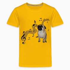 Music Pug with sheet music Kids' Shirts