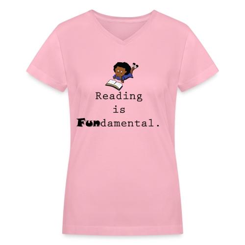 Reading is Fundamental- V neck - Women's V-Neck T-Shirt