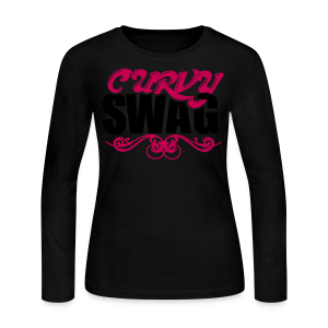 Curvy Girl Swag Shirt (Version 2 - 2 Color - Dark Type) Long Sleeve - Women's Long Sleeve Jersey T-Shirt
