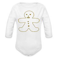 Baby & Toddler Shirts ~ Baby Long Sleeve One Piece ~ Gingerbread Man