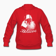 Santa Claus BELIEVE Monochrome Hooded Sweatshirt