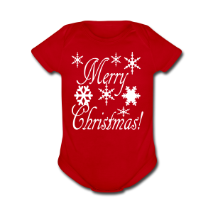 Merry Christmas Snowflakes - Short Sleeve Baby Bodysuit
