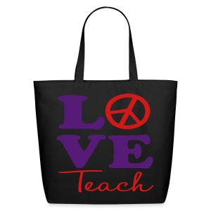 Peace Love Teach Tote - Eco-Friendly Cotton Tote