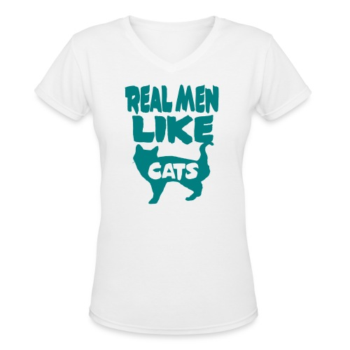 Real Men Like Cats - Women's V-Neck T-Shirt