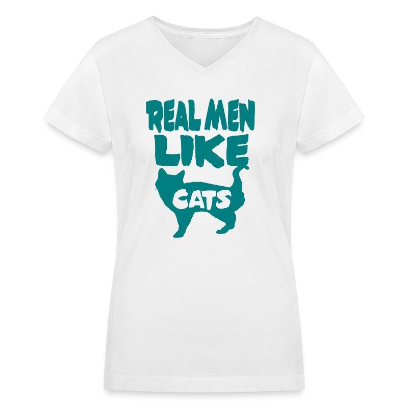 Real Men Like Cats - Women's V-Neck T-Shirt