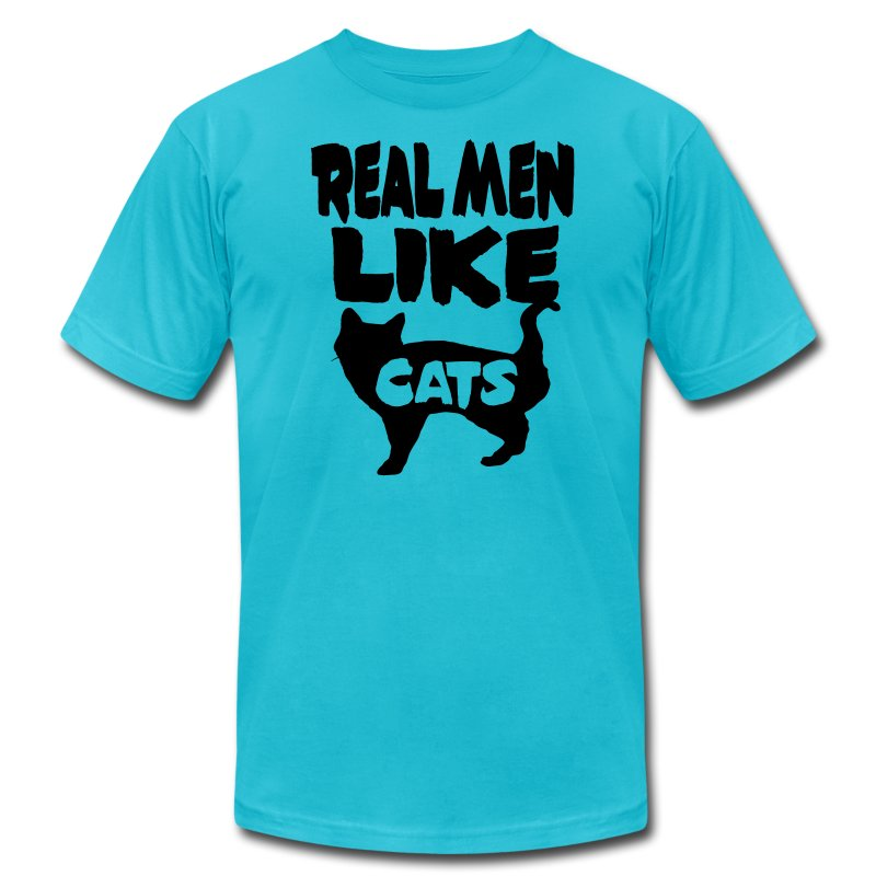 Real Men Like Cats - Men's T-Shirt by American Apparel