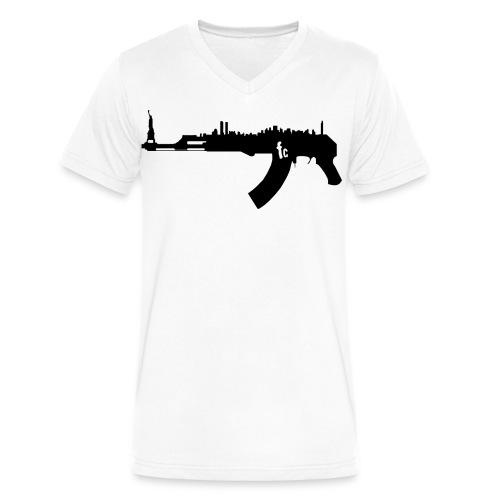 AK47 NY Skyline Full Flavor Tshirt - Men's V-Neck T-Shirt by Canvas