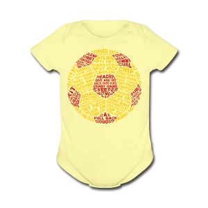 Soccer Ball Typography Baby T-Shirt - Short Sleeve Baby Bodysuit