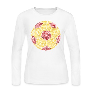 Soccer Ball Typography Women's T-Shirt - Women's Long Sleeve Jersey T-Shirt